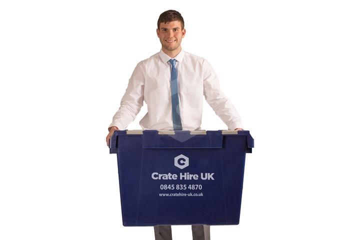 guy holding plastic crate