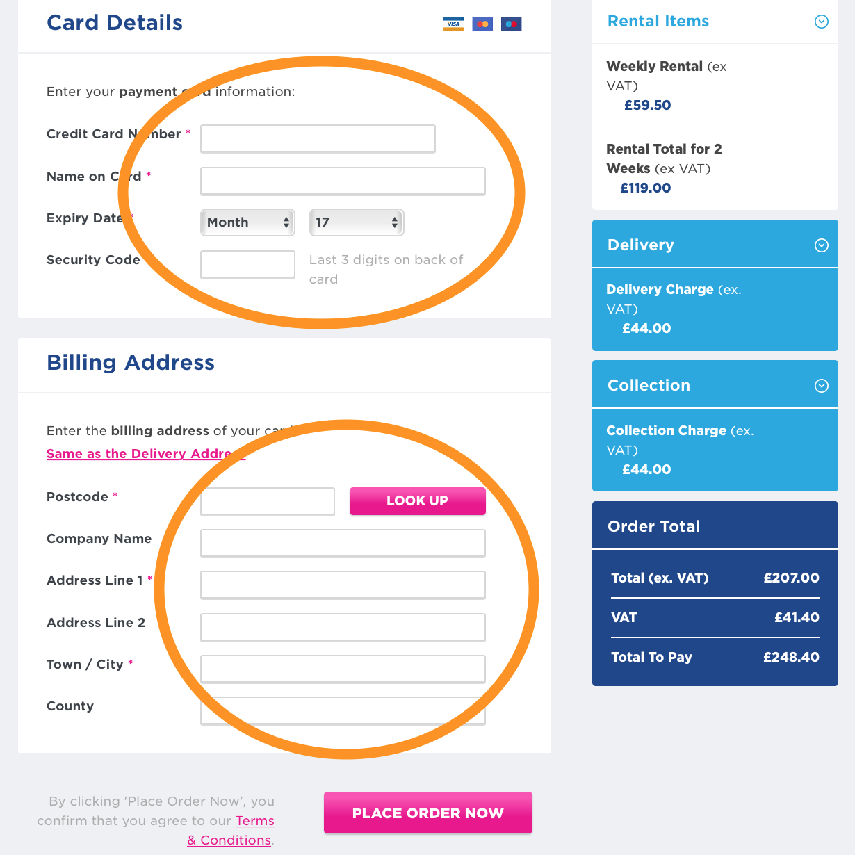 Card Details Booking